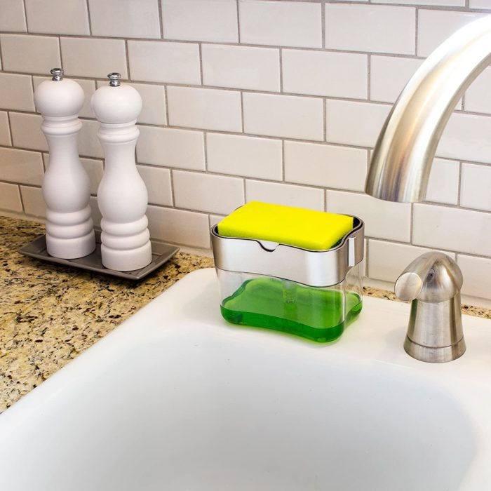 Soap Pump and Sponge Caddy with Sponge
