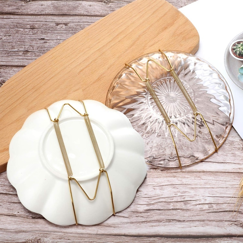 New 16 Pieces 6 Inch Invisible Plate Hangers Wall Plate Hangers Brass Wire Plate Holders with 18 Pieces Wall Hooks for 5 to 7 In