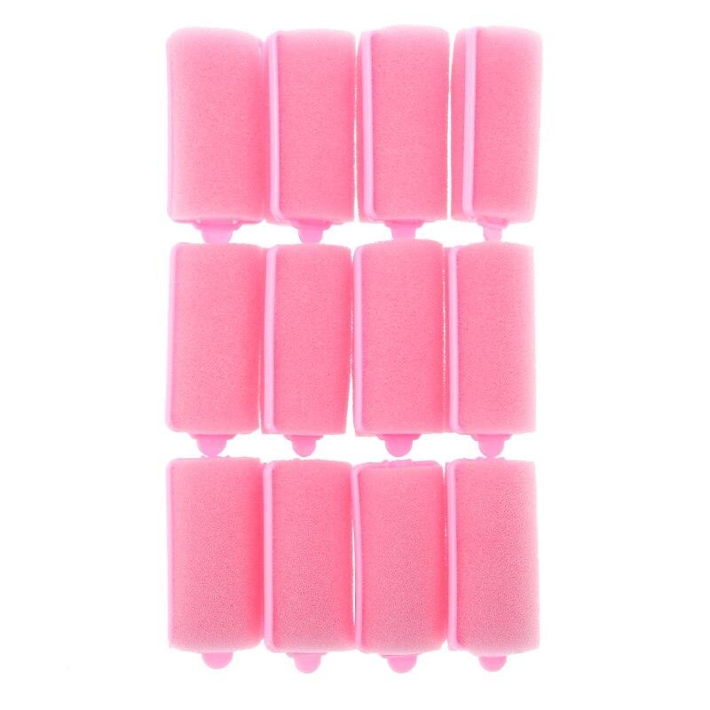 12pcs/Set Pink Soft Sponge Foam Cushion Hair Rollers Curlers Salon Barber DIY Curls Hairdressing Tool Kit DIY Home