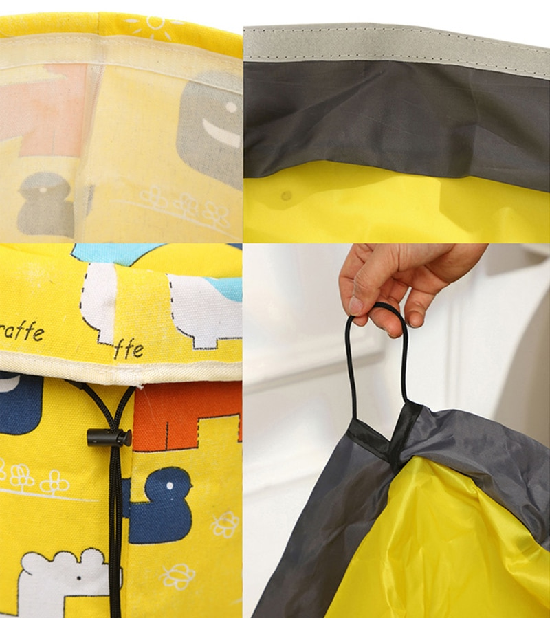 Magic Tape Kids Toy Storage Bag and Play Mat Portable Drawstring Pouch Toy Organizer Outdoor Block Toy Container Basket Tidy Bin