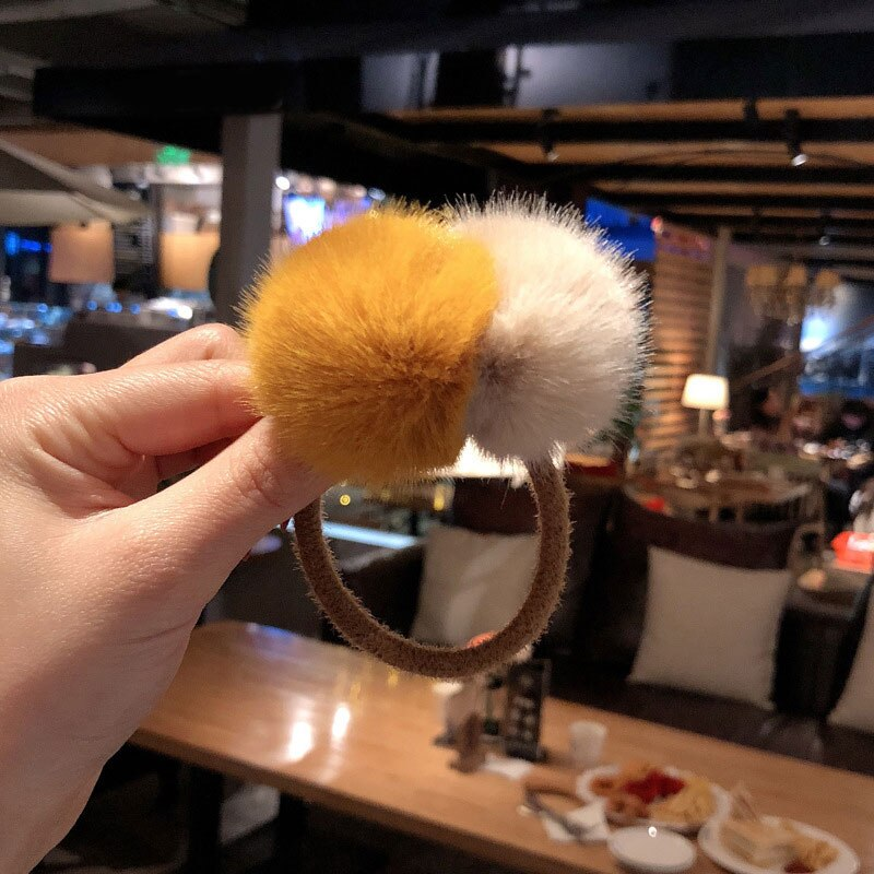 Girls Cute Double Fluffy Ball Pom Pom Hair Tie Bands Kids Faux Fur Ball Pompom Elastic Hair Holder Clips Hairpins