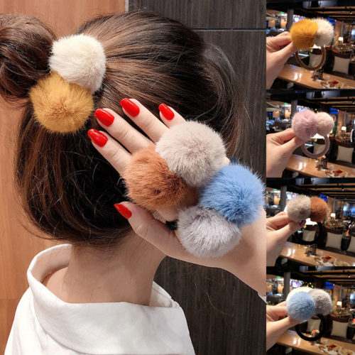 Faux Fur Pom Pom Hair Tie