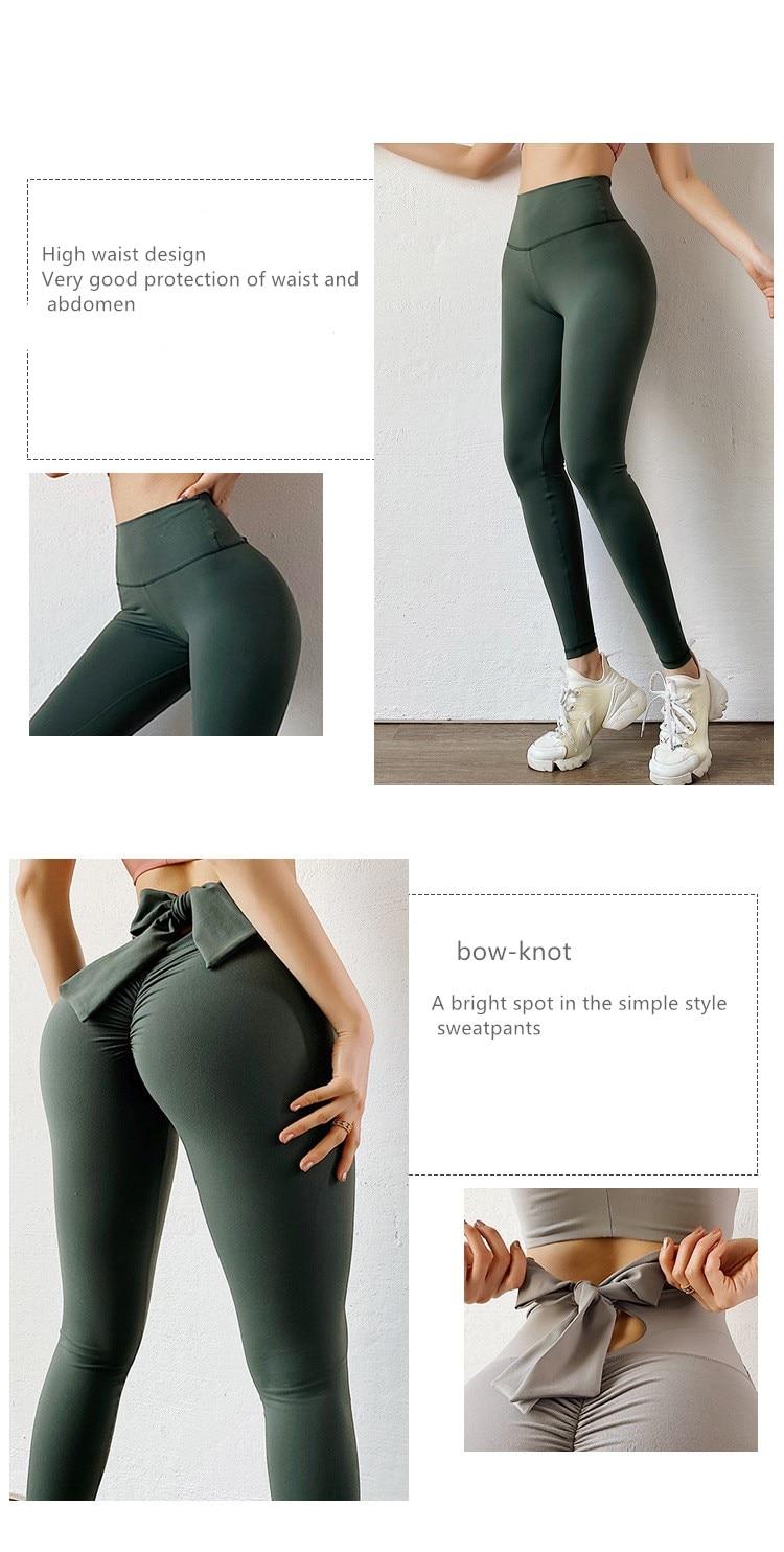 Bowknot lift hip Sports pants High Waist Yoga Leggings Scrunch Butt Workout Sports Women Fitness Leggings Gym Running Tights
