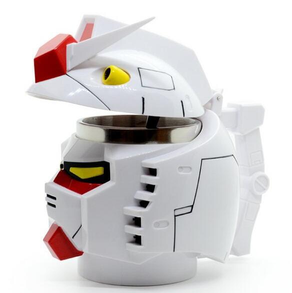 Creative Gundam RX-78-2 Head Plastic + Stainless Steel Mugs Cup Office Water Cup Coffee Cup Mug 350ml