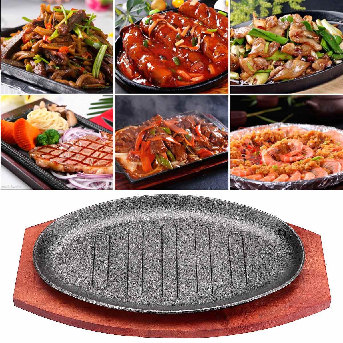 3 Sizes Cast Iron Steak Fajita Sizzling Platter Plate BBQ Grill Pan Cooking Wooden Holder