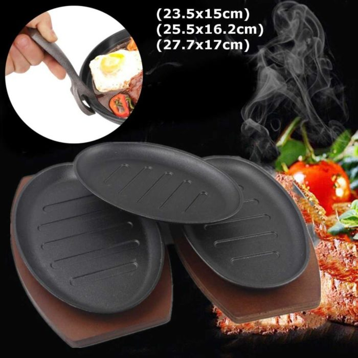 Cast Iron Sizzling Platter with Wooden Holder