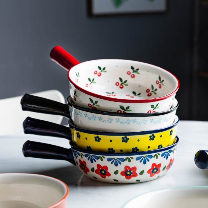 Ceramic Painted Soup Bowl with Handle