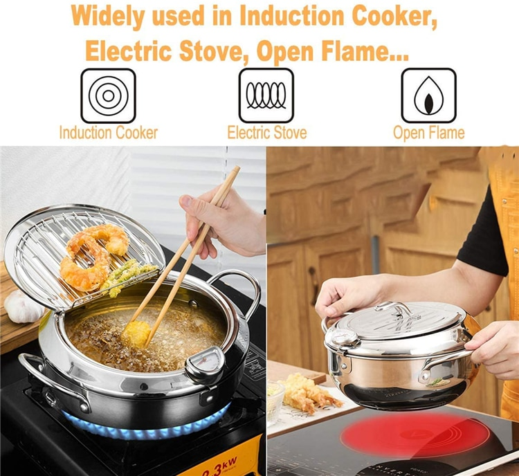 LMETJMA Japanese Deep Frying Pot with a Thermometer and a Lid 304 Stainless Steel Kitchen Tempura Fryer Pan 20 24 cm KC0405