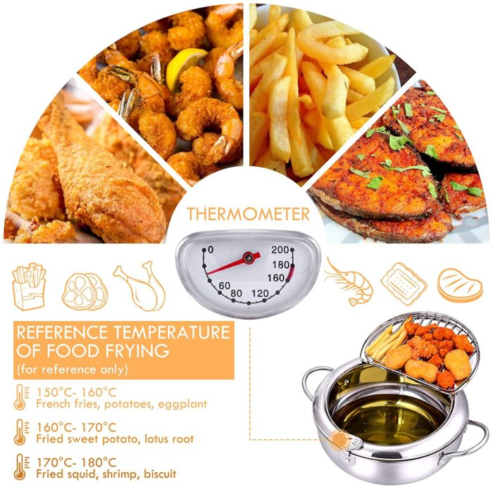 Deep Frying Pot with Thermometer