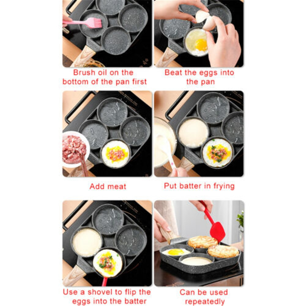 Four-hole Frying Pot Pan Thickened Omelet Pan Non-stick Egg Pancake Steak Pan Cooking Egg Ham Pans Breakfast Maker Cookware