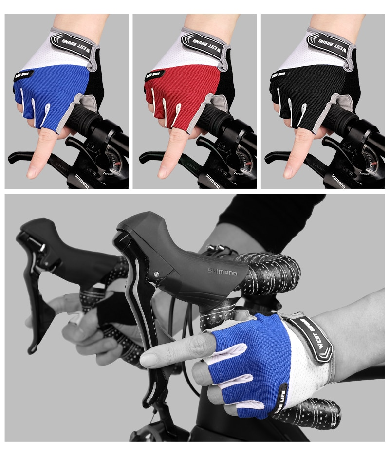 WEST BIKING Cycling Glove Half Finger Gel Pad Breathable Sweat Washable Outdoor Sports MTB Gloves Non-Slip a Pair Bicycle Gloves