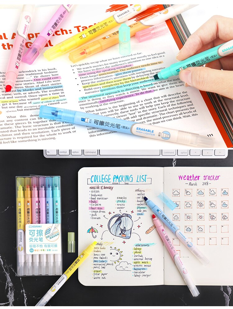 6 Colors Erasable Highlighters Pastel Markers Dual Tip Fluorescent Pen for Art Drawing Doodling Marking School Office Stationery