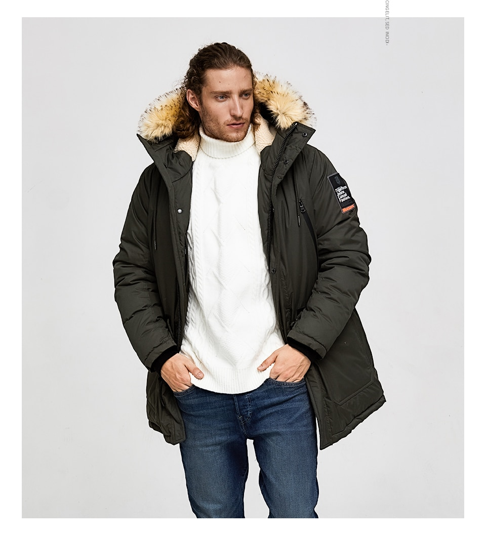 Parka Jacket For Men With Fur Hood