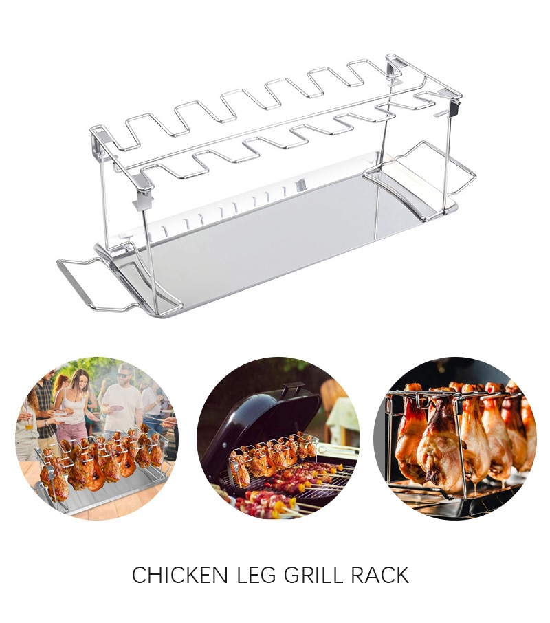 BBQ Beef Chicken Leg Wing Grill Rack 14 Slots Stainless Steel Barbecue Drumsticks Holder Smoker Oven Roaster Stand with Drip Pan