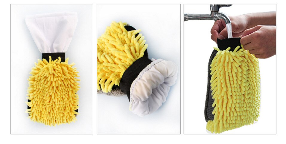 Waterproof Car Wash Microfiber Chenille Gloves Thick Car Cleaning Mitt Wax Detailing Brush Auto Care Double-faced Glove