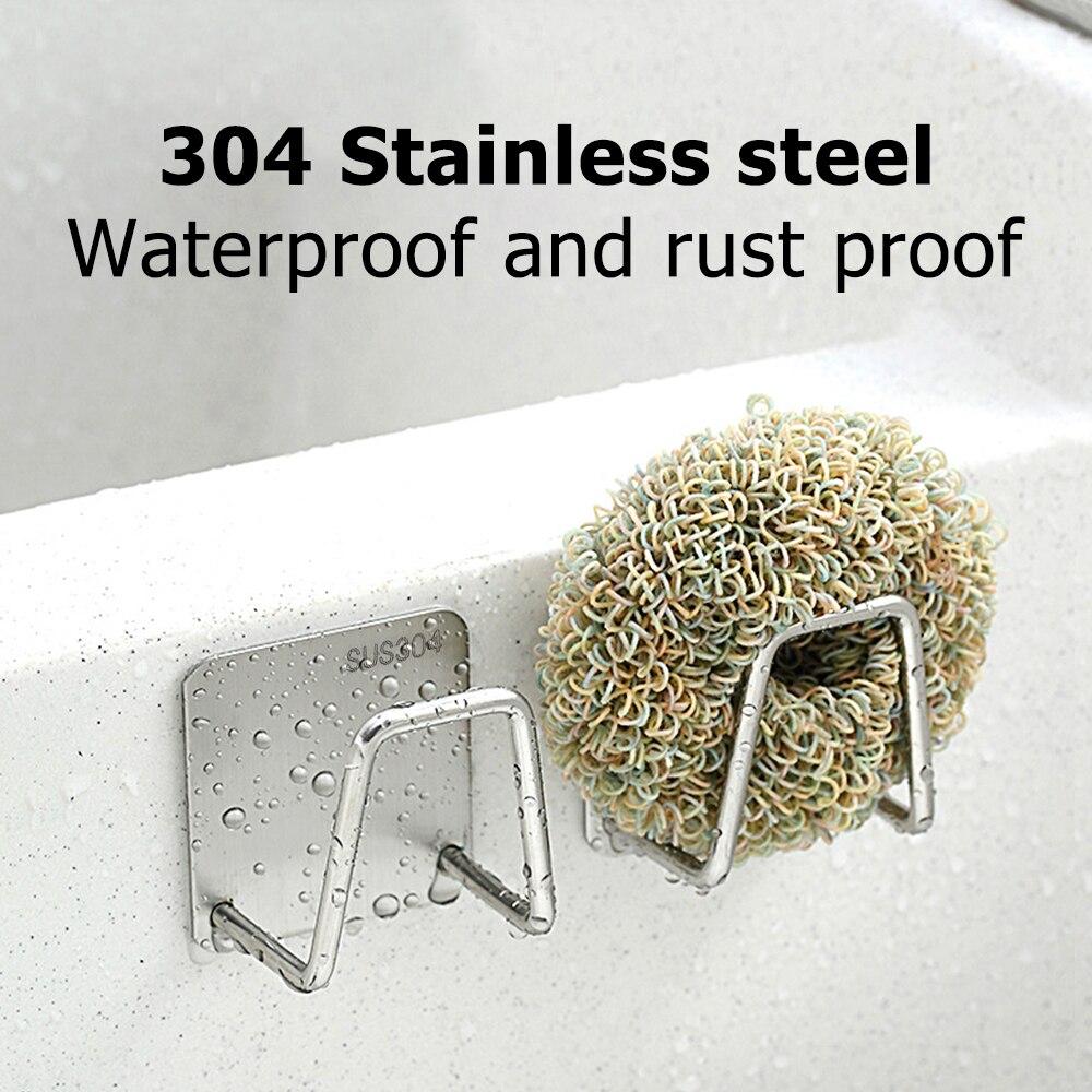 Kitchen Sponges Holder Self Adhesive Sink Sponges Drain Drying Rack 304 Stainless Steel Storage Holder Kitchen Sink Accessories