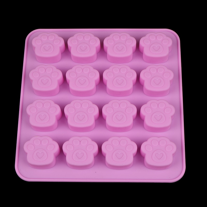 Wholesale New Pink 16 Holes Cute Pet Cat Dog Paws Silicone Mold DIY Fondant Cake Decorative Tools Cookie Chocolate Mould