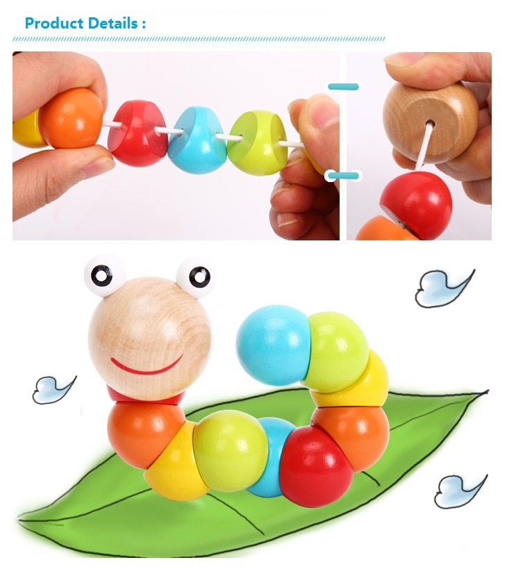 Colorful Wooden Toys Twisting Caterpillar Kids Puzzles Educational Toys Fingers Game for Children Montessori Gift