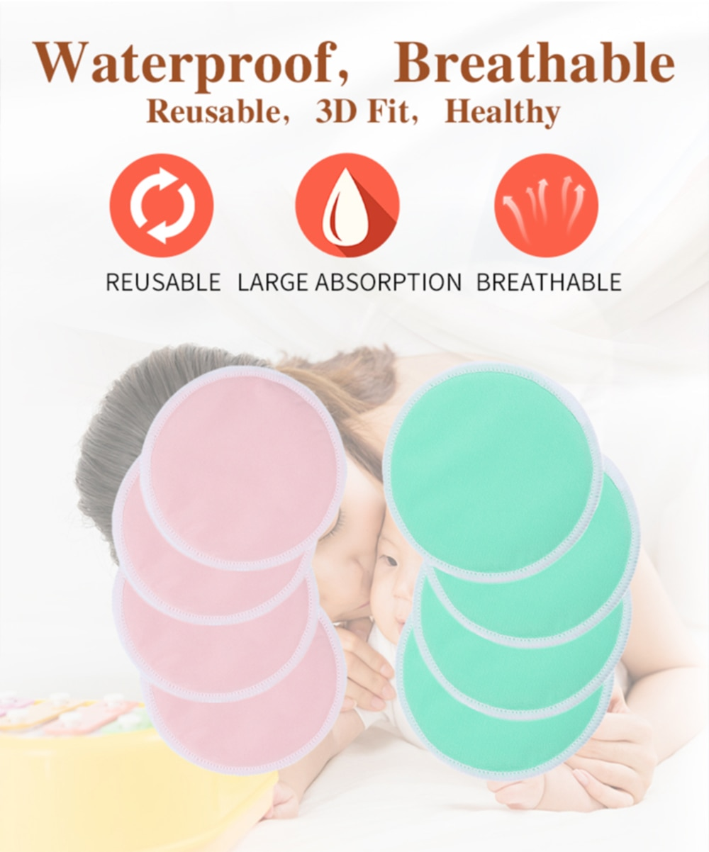 [Mumsbest] 4 PCS Ecological Reusable Nursing pads Bamboo Breast Pads Bamboo Washable Contoured Feeding pads For Women Contoured
