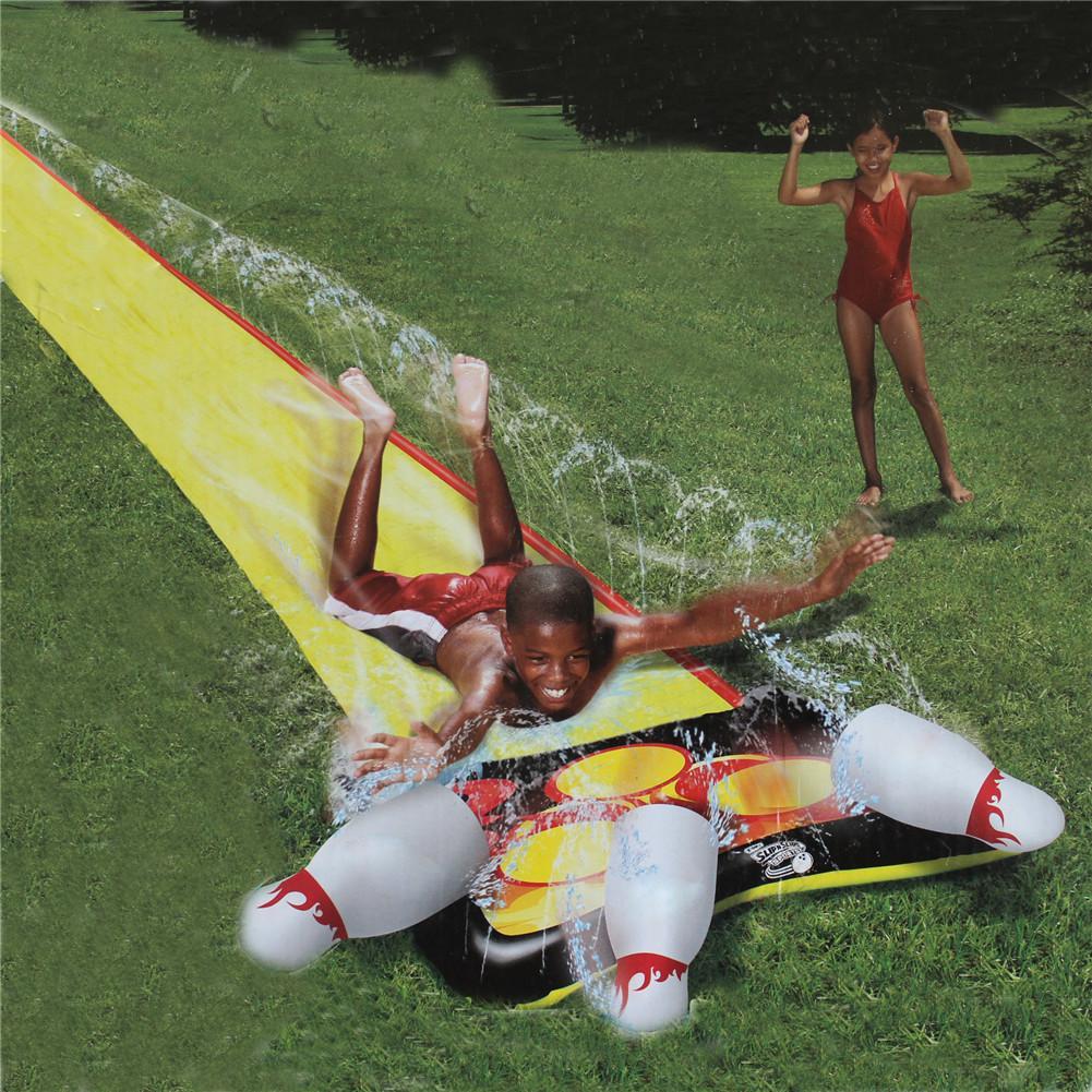 610x145cm Children Double Surf Water Slide Outdoor Garden Racing Lawn Water Slide Spray Summer Water Games Toy toboggan aquatiqu