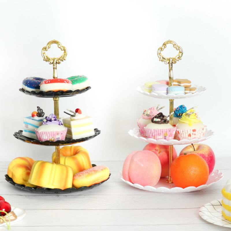 3 Tier Plastic Tray Display Rack Cake Stand Afternoon Tea Wedding Plates Party Tableware Bakeware Cake Decorating Tools