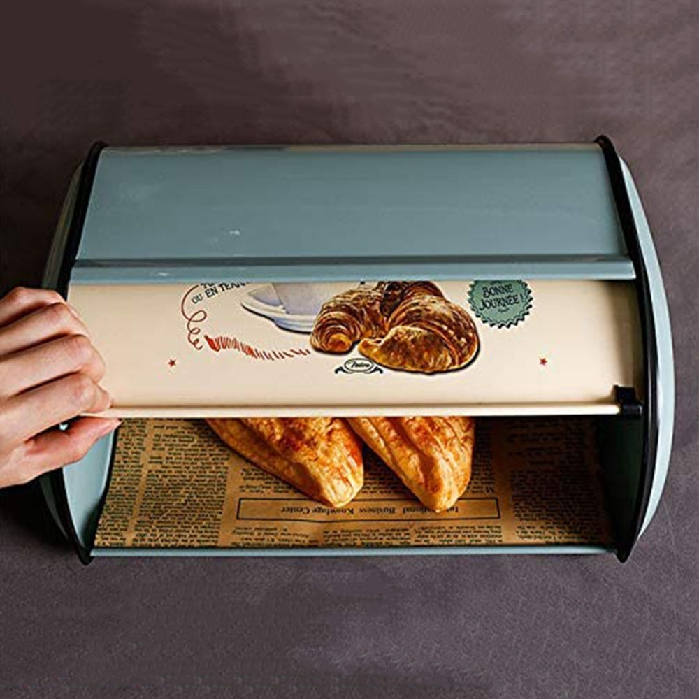 French Vintage Stainless Steel Bread Box Metal Bread Bin Blue Small Powder Coated Bread Storage Holder for Kitchen Organizer