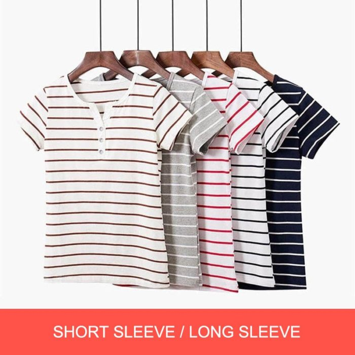 Long/Short Sleeves Striped Top For Women