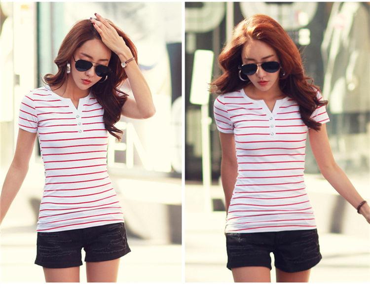 Women T-Shirt Cotton Short Long Sleeve Lady T Shirt Striped Summer Spring Autumn Female Blusa White Plus Size Fashion Top Tee T0