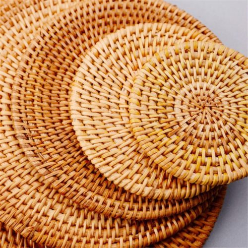 Round Rattan Placemat Table Decoration