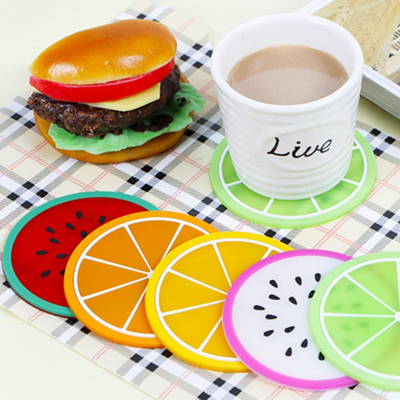 7pc/set Colorful Mini coaster for table desk hot Silicone cup mat placemat stand hot fruit drink Pad for kitchen Pad Slip Holder