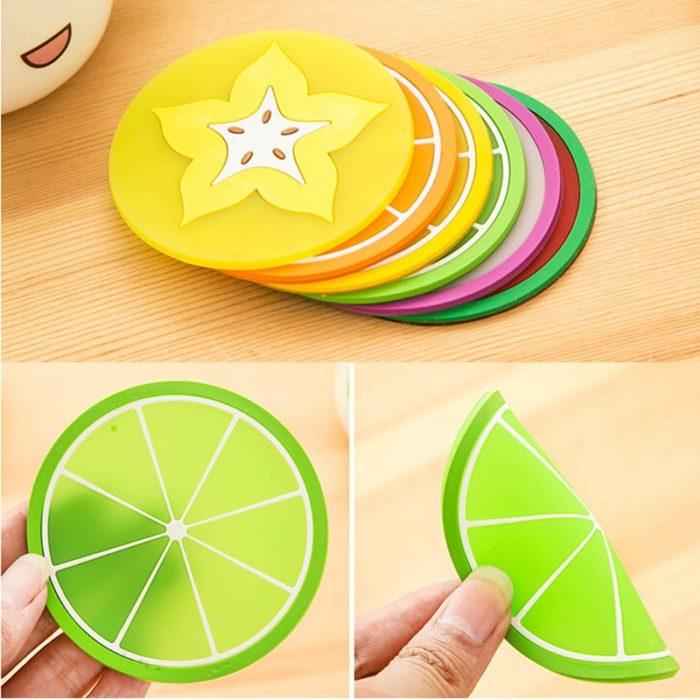Silicone Mini Fruit Coasters (7pcs)