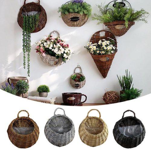 Wicker Wall Mounted Hanging Basket
