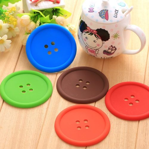 Silicone Round Button Coasters (5pcs)