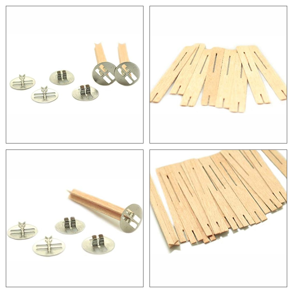50Pcs Cross Wooden Candle Wicks Natural Candle Cores With Metal Base For Candle Making DIY Craft