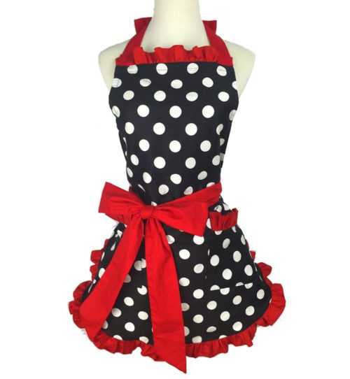 Retro Apron Polka Dots Clothes Cover