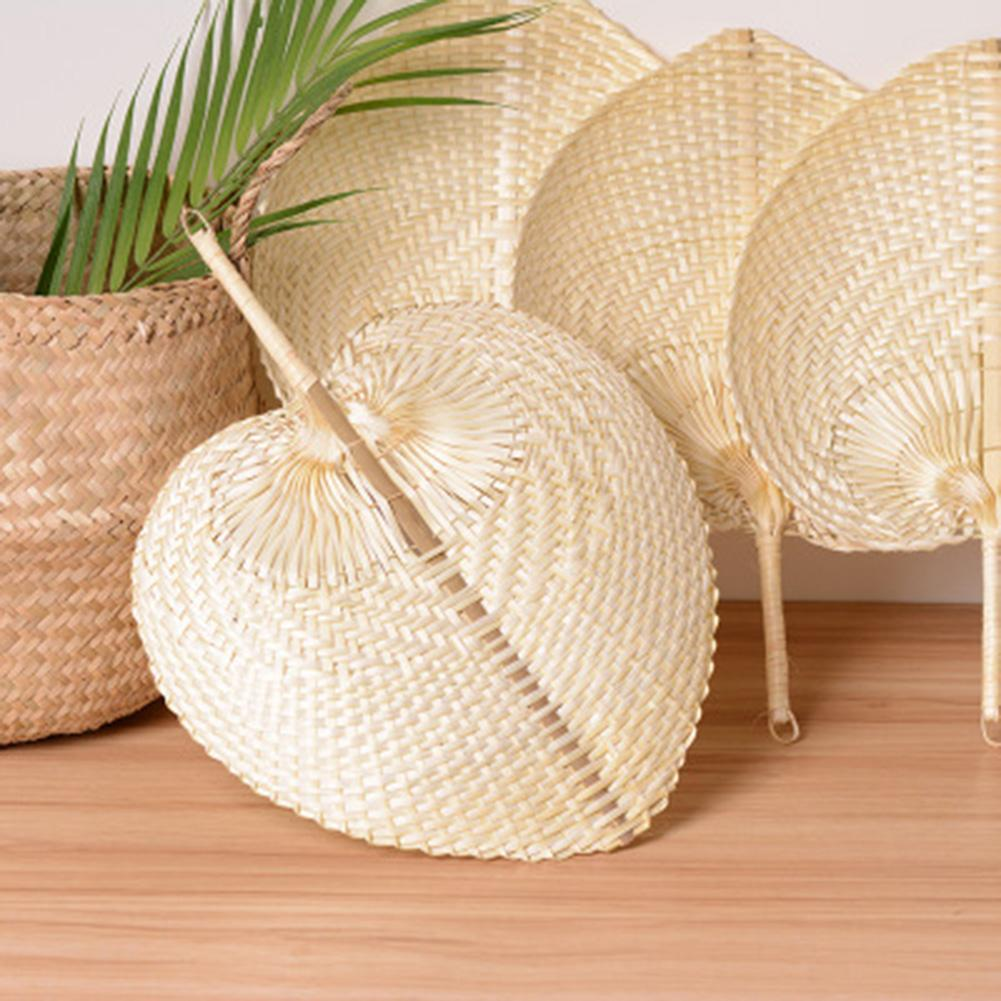 Chinese Style Handmade Straw Fan Hand-woven Palm Leaf Hand Woven Fan Summer Cooling Mosquito Repellent Hand Fans