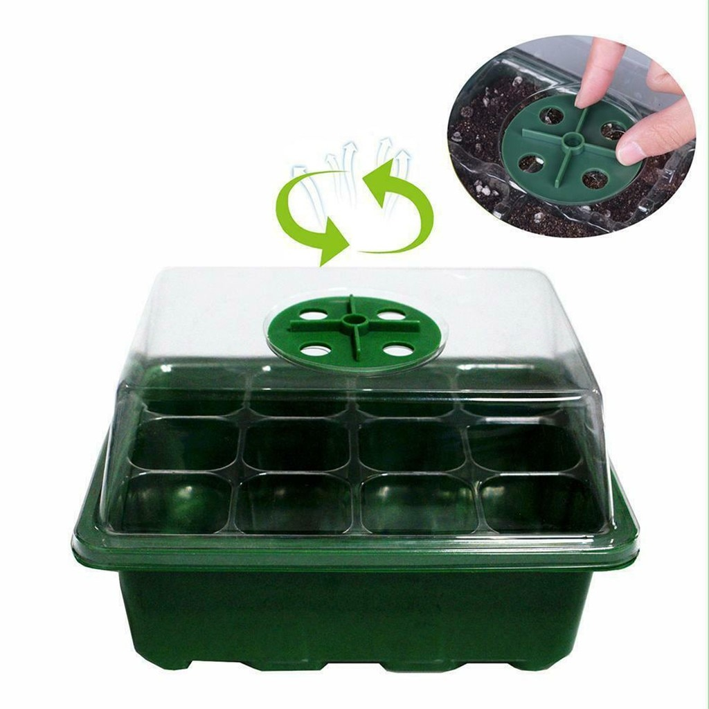 12 Cells Seedling Starter Tray Seed Germination Plants Propagation Grow Box Garden Nursery Pots Garden Supplies Grows Box#Y5