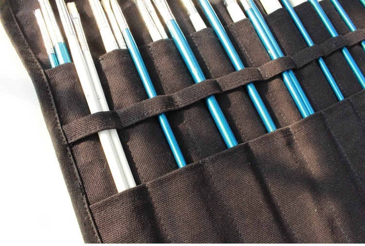 Paint Brushes Pencil Bag Roll Up Thick Canvas Wrap Pouch 20 Holder Case Organizer Pouch Perfect Storage for Brush Make up