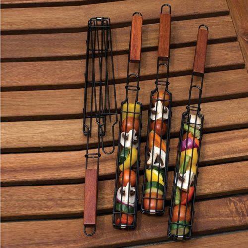 Wooden Handle Metal Kebab Basket