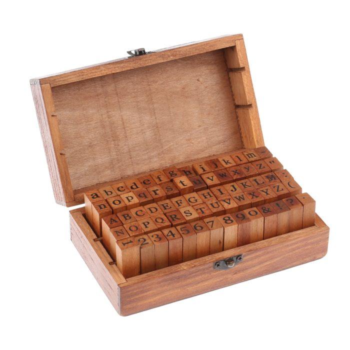 Wood Letter Stamps Set (70 Pcs)