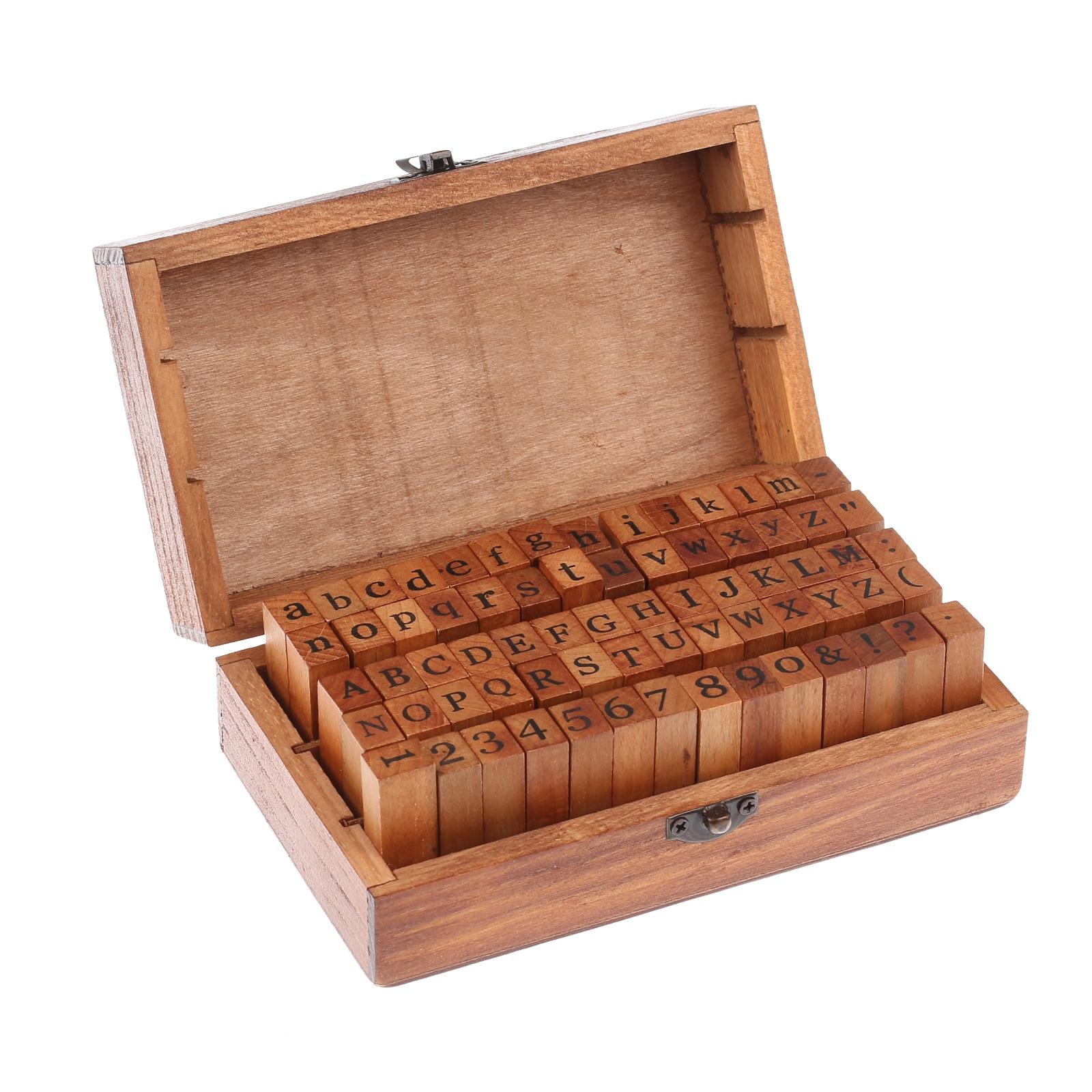 70 Pcs Letter Seal DIY Letter Alphabet Stamp Vintage Teach Wooden Alphabet And Number Stamps Set With Dark Brown Wooden Box