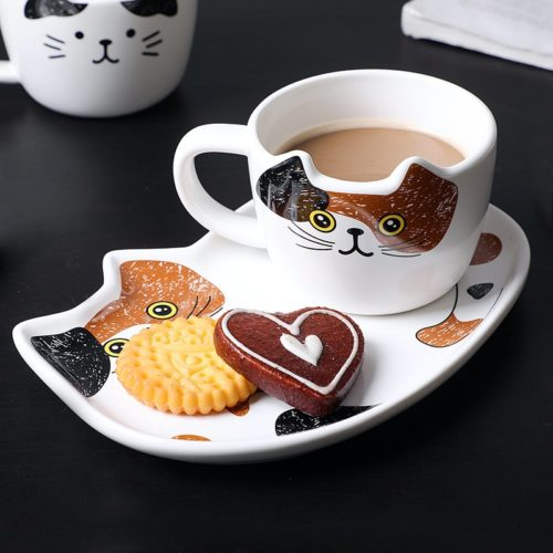 Cat Coffee Cup Set With Handle