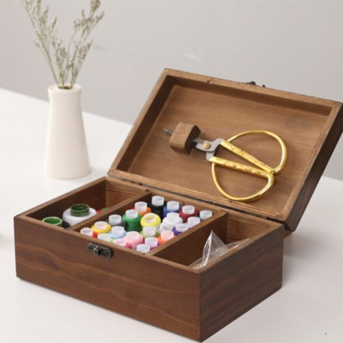 Wooden Sewing Box Storage Container