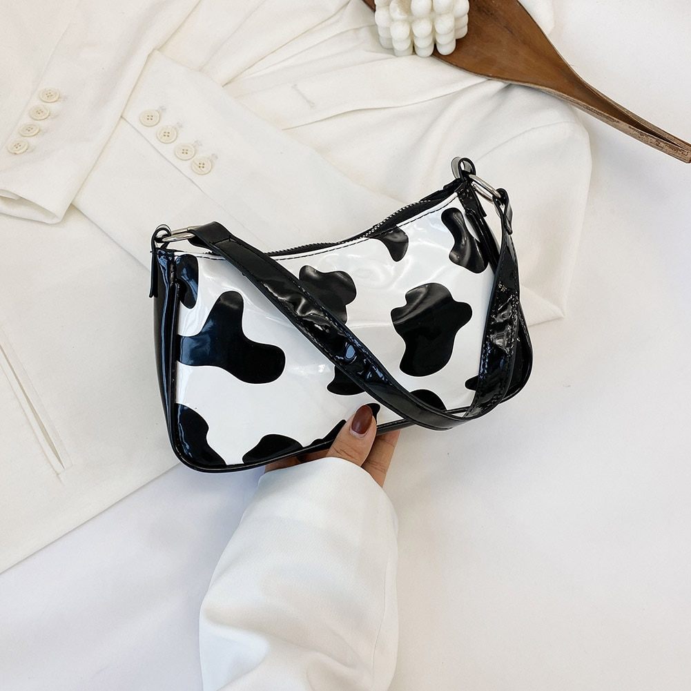 Cow Milk Print Pattern Baguette Bags For women 2020 Bright PU Leather Small Shoulder Bag Female Designer Underarm Bags bolsos