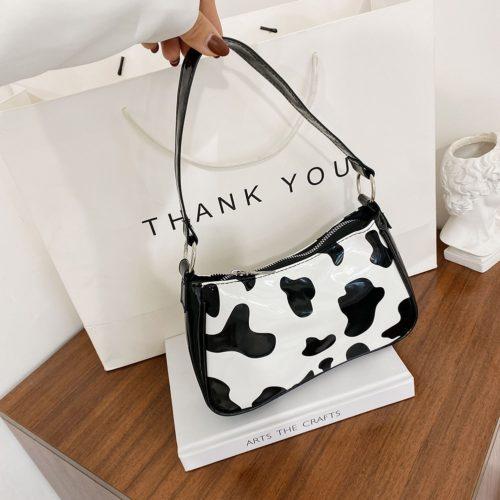Cow Print Handbag Leather Shoulder Purse