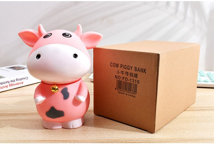 Large Resin Piggy Bank For Paper Money Zodiac Animal Cow Money Box Safe For kids Creative Children Gifts coins Box Home Decor
