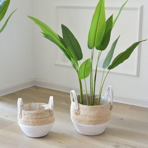 Handmade Straw Plant Basket