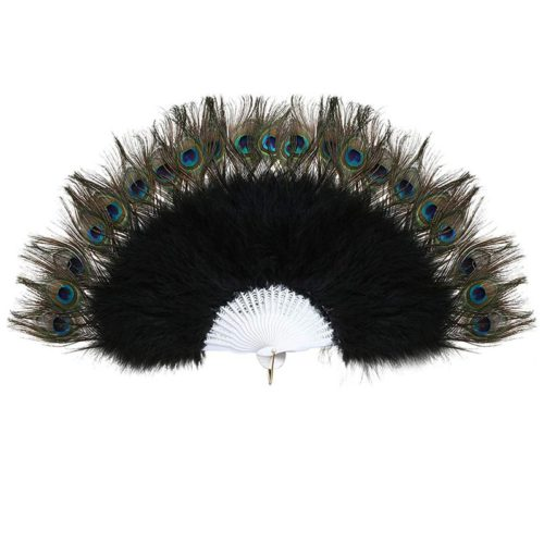 Vintage Style Peacock Feather Fan