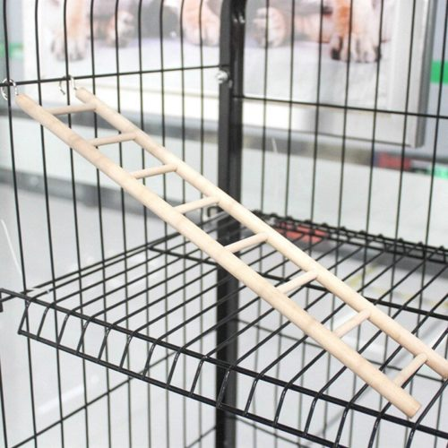 Wooden Bird Cage Ladder with Hooks