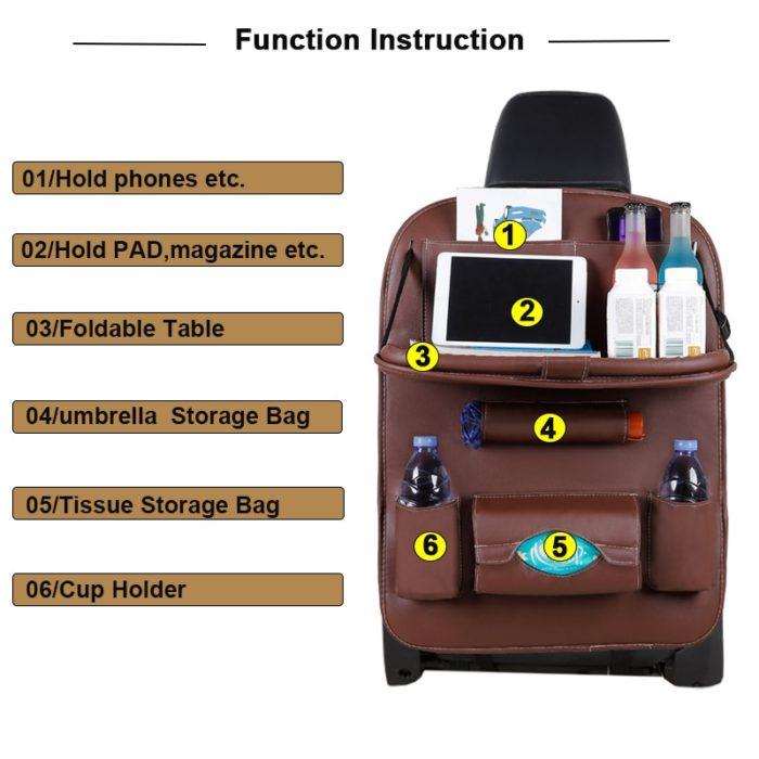 Car Seat Back Organizer Storage Bag